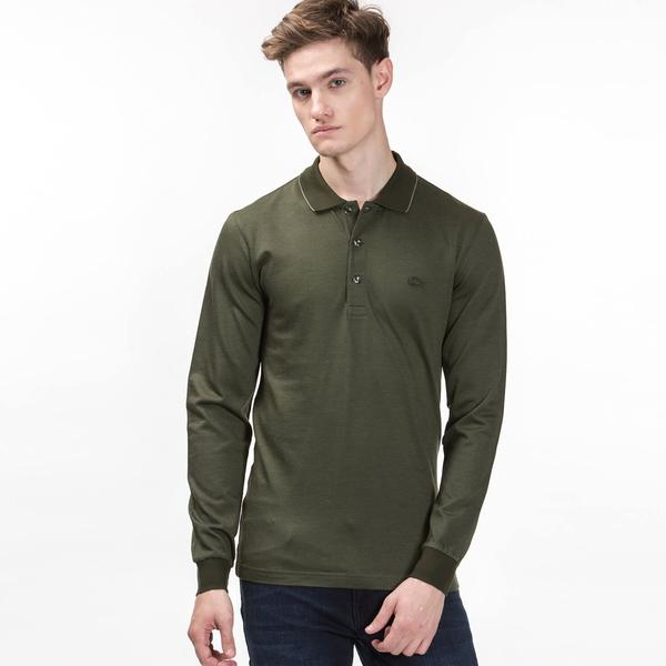 Lacoste Men's Long Sleeve Green Polo