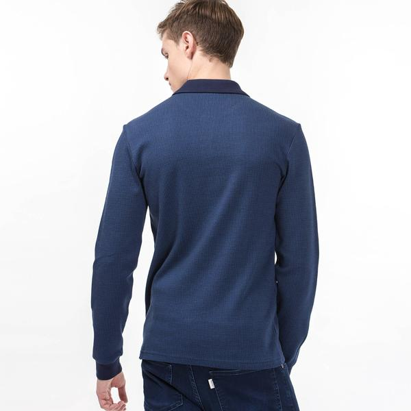 Lacoste Long Sleeve Navy Blue Slim Fit Polo