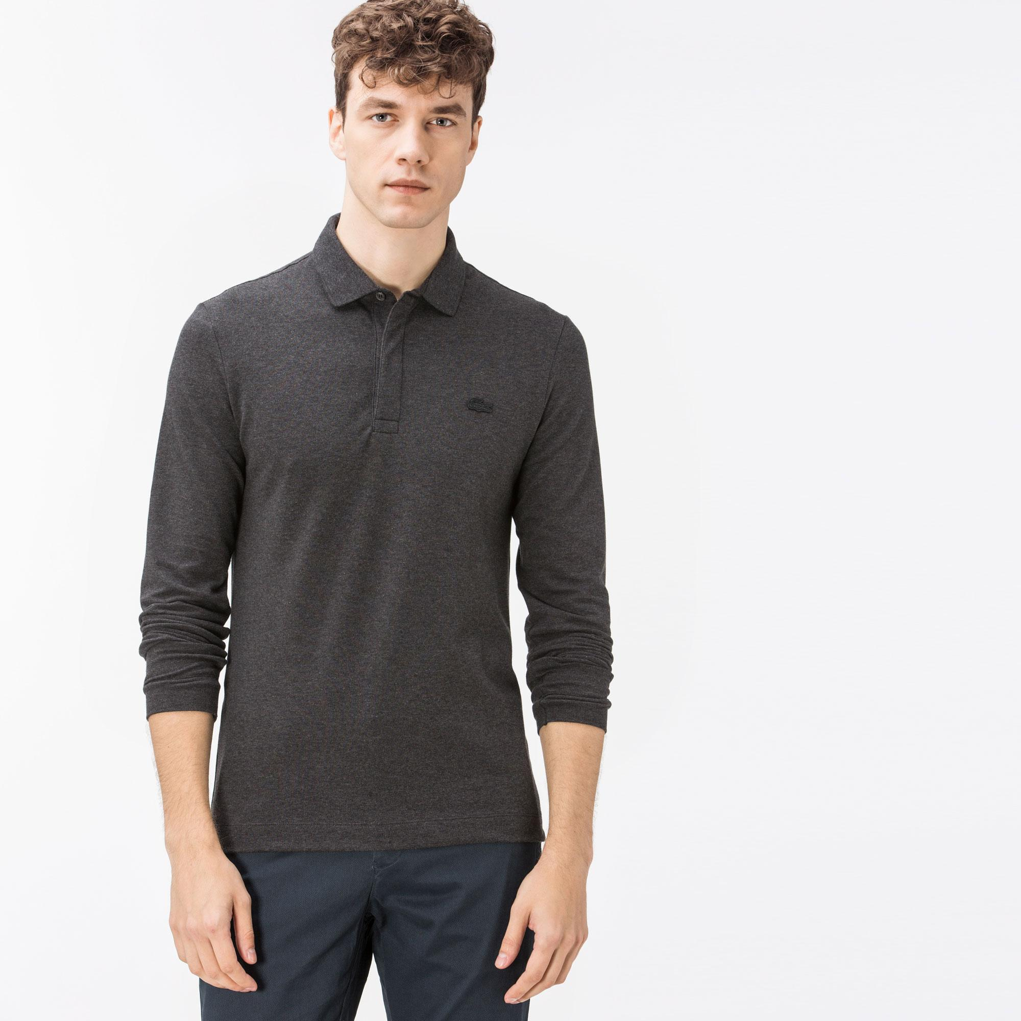 Lacoste Men's Regular Fit Long Sleeves Grey Polo