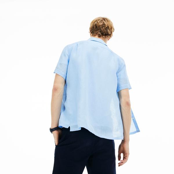 Lacoste Męska Tkana Koszula Z Krótkim Rękawem