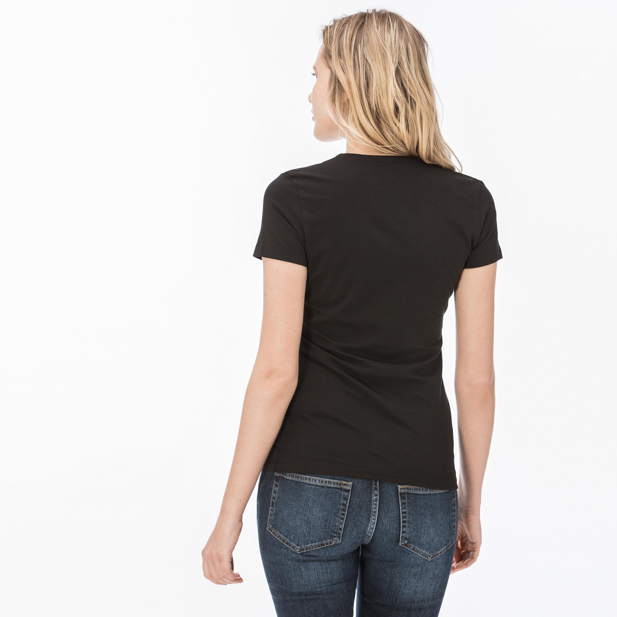 Lacoste Women's V Neck Slim Fit T-Shirt